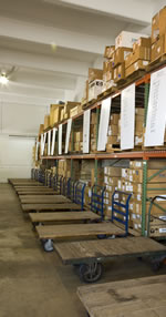 Picture of warehouse pallet racks filled with packages in our warehouse/fulfillment facility in Fort Lauderdale, Florida